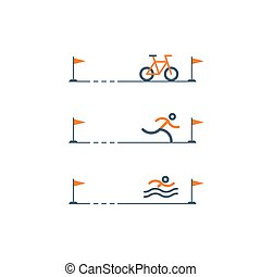 Set of sports icons for triathlon