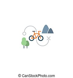 Countryside sports activities - Outdoor cycling icon, sports...