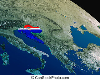 Flag of Croatia from space - Croatia with embedded national...