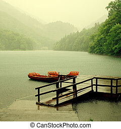 Rain on the lake - Rain falls upon the lake in National...