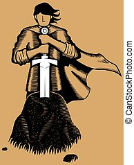King Arthur - Illustration of young King Arthur withdrawing...