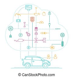 Internet Of Things For The Car - Line icons infographic....