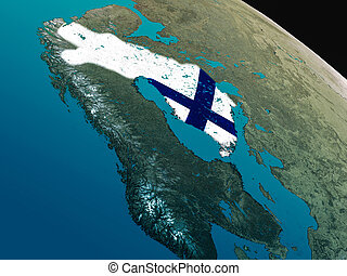 Flag of Finland from space - Finland with embedded national...