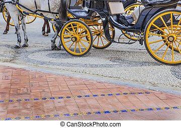 Coachman resting at Plaza de Espana in Seville, Spain -...