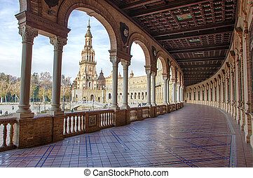 Spain Square, Plaza de Espana, Seville, Spain. View from porch
