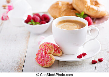 Valentines day breakfast with cooffee, cookies and...