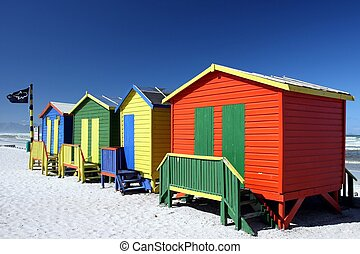 Colorful Beach Change Rooms - Brightly painted summer beach...