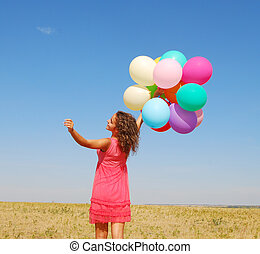 happy - young happy woman with balloons