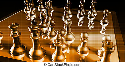 Strategic Management and Business War Chess Concept