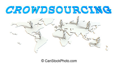 Crowdsourcing Global Business Abstract with People Standing...