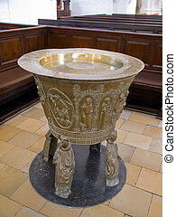 Baptismal font in full view - Full view of a Baptismal font...