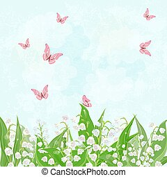 field of blooming lily of the valley with flying butterflies...