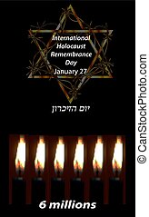 International Holocaust Remembrance Day. 27 January. Hebrew....