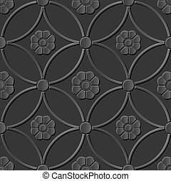 Dark 3D paper art round cross frame flower
