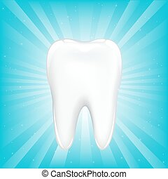 Tooth Icon - Tooth, On Blue Background With Beams And Stars,...