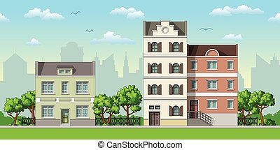 Illustration of three classic family houses with trees