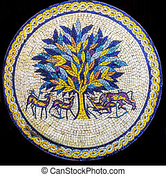 Tree of Life Mosaic Madaba Jordan. Tree of Life is famous...