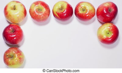 Apples form square - Ripe apples are arranged in shape of...