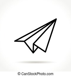 paper plane thin line icon - Illustration of paper plane...