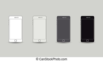 Flat cellphone - Set of linear cellphones, flat design,...