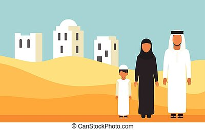Arabic Family in traditional clothes in desert dunes. Vector...