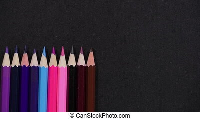 Line of colorful pencils - Set of colorful pencils moves out...