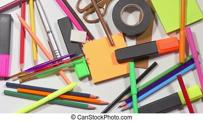Pile of stationeries - Colorful pencils, markers, scissors,...