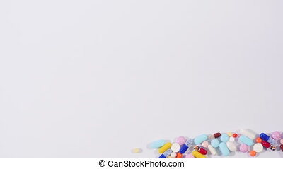 Word health made of pills - Colorful pile of pills and...