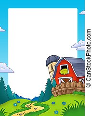 Frame with landscape and barn - color illustration
