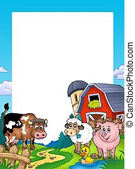 Frame with barn and farm animals - color illustration