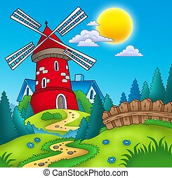 Country landscape with red mill - color illustration