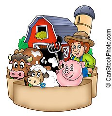 Banner with barn and country animals - color illustration.