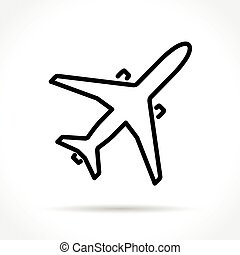 Impression - Illustration of airplane thin line icon design