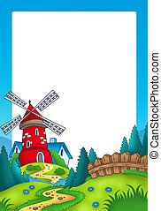 Frame with landscape and red mill - color illustration