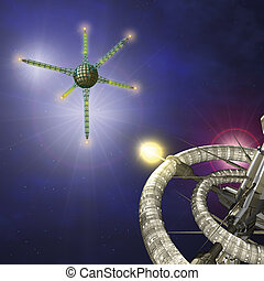 Space two orbital stations - 3d rendering illustration,...