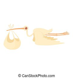 Stork delivering a newborn baby icon cartoon style