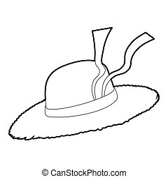 Straw hat icon, isometric 3d style - Straw hat icon....