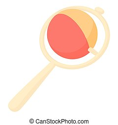 Baby rattle toy icon, cartoon style