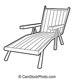 Beach chaise lounge icon, isometric 3d style
