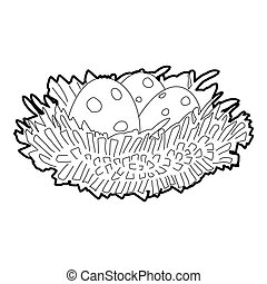 Bird nest with eggs icon, isometric 3d style - Bird nest...