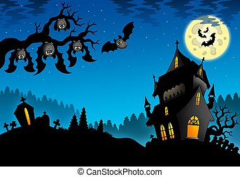 Halloween landscape with mansion - color illustration