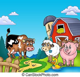 Red barn with farm animals - color illustration
