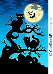 Two cats silhouette with full moon - color illustration.