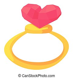 Gold ring with pink heart gemstone icon