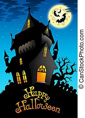 Happy Halloween sign with old house - color illustration