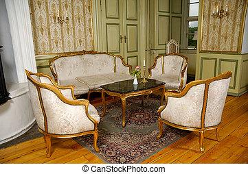Elegant room with antique furniture