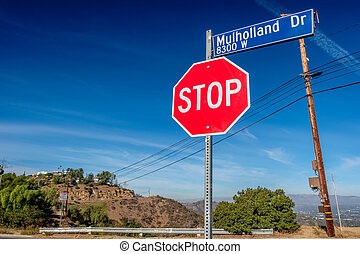Mulholland Highway sign, Los Angeles, California, USA.