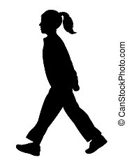 walking girl silhouette