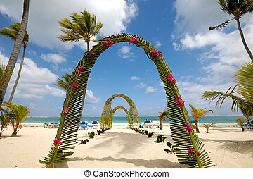 Wedding beach - Wedding archway on tropical beach