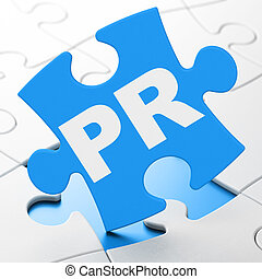 Advertising concept: PR on puzzle background - Advertising...